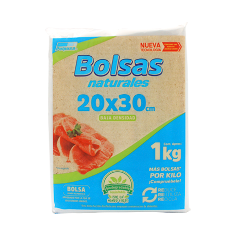 BOLSA NATURAL 1 KGS 20 X 30 CM BAJA DENSIDAD 1 KG