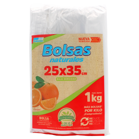 BOLSA NATURAL 2 KGS 25 X 35 CM BAJA DENSIDAD 1 KG
